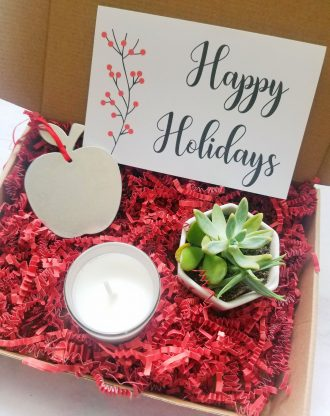 Happy Holidays gift box, Send a gift, Merry Xmas basket, Apple ornament, personalized package, Pre filled teacher gift box for Christmas