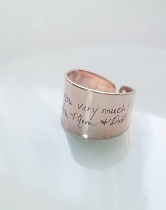 Actual handwritten ring, custom handwriting ring, engraved signature ring, adjustable name ringmemorial jewelry, Personalized keepsake gift