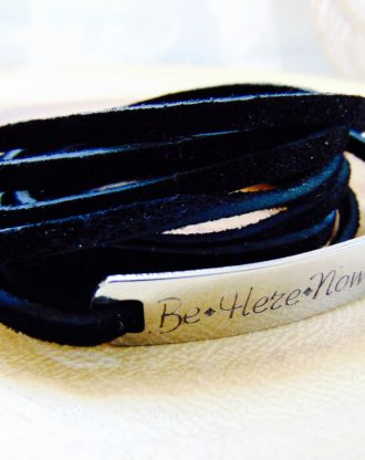 Black leather Multi wrap bracelet, personalized bar Suede cuff bracelet/anklet/choker, adjustable boho arm jewelry w/stamping bar bracelet