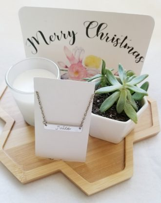 Christmas gift box, Send a gift basket, succulent gift box, Happy Holidays gift package, personalized name necklace, pre filled gift box.