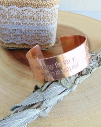Copper cuff with matching message ring, Personalized engraved jewelry set for women, inspirational hand stamped copper jewelry