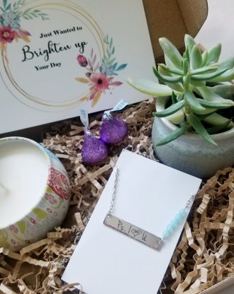Encouragement gift box, Send a gift, Custom care package, live succulent gift, personalized bar necklace, just wanted to brighten your day