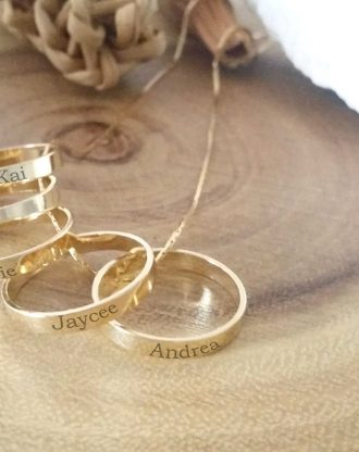 Family necklace, gold ring necklace, Personalized gift for mom, custom children name rings, engraved gold ring charm necklace, mother gift.