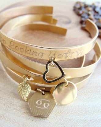 Gold charm bracelet leaf/heart/Zodiac/hexagon, custom engraved jewelry Personalized cuff bracelet, Layered cuffs, bohemian style, quote cuff