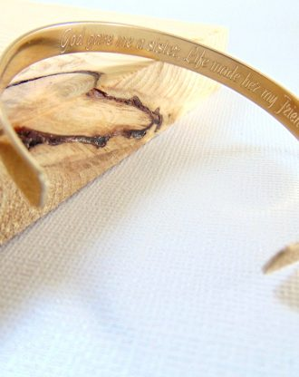 Gold Message Cuff, engraved quote bangle, personalized bridesmaid Bracelet, Stackable bands, Sister gift, bridesmaid gift, Custom name cuff.