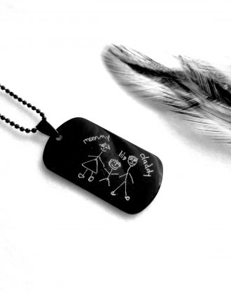 Handwriting Black necklace, child drawing necklace for dad, engraved military tag pendant, personalized Men necklace, Fathers day gift.