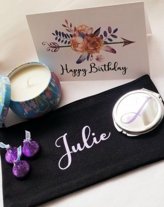 happy Birthday gift box, Send a gift, birthday present, personalized birthday gift, custom bridesmaid gift, makeup bag w compact mirror set.