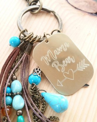 Mama Bear. Personalized Engraved massage keychain, gold key charm, Mini mantra key chain, inspirational quote key holder plate, mother gift