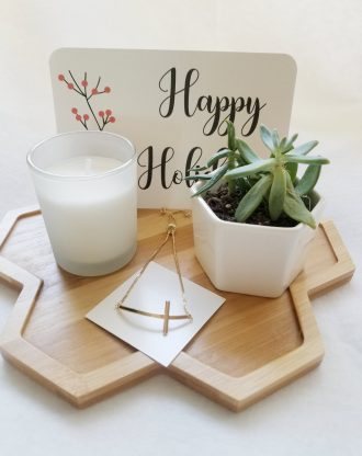 Merry Christmas pre filled gift box, Send a gift basket, succulent gift box, Happy Holidays gift package, Gold Sideways cross bracelet.
