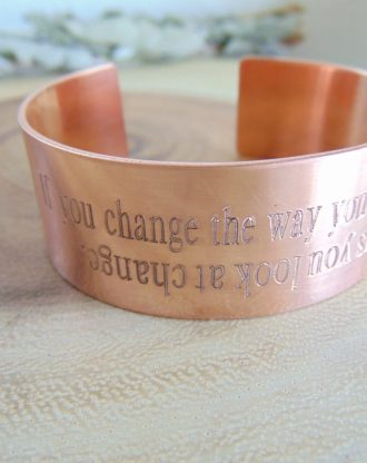 Mothers day cuff, Custom engraved bracelet, inspirational meaningful Wide copper cuff, Stuckable wrist band, customize Arm jewelry.