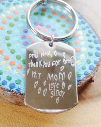 Mothers day gift, Child drawing, Handwriting key chain, custom signature Engraved key chain, gift for mom or grandma, actual handwritten.
