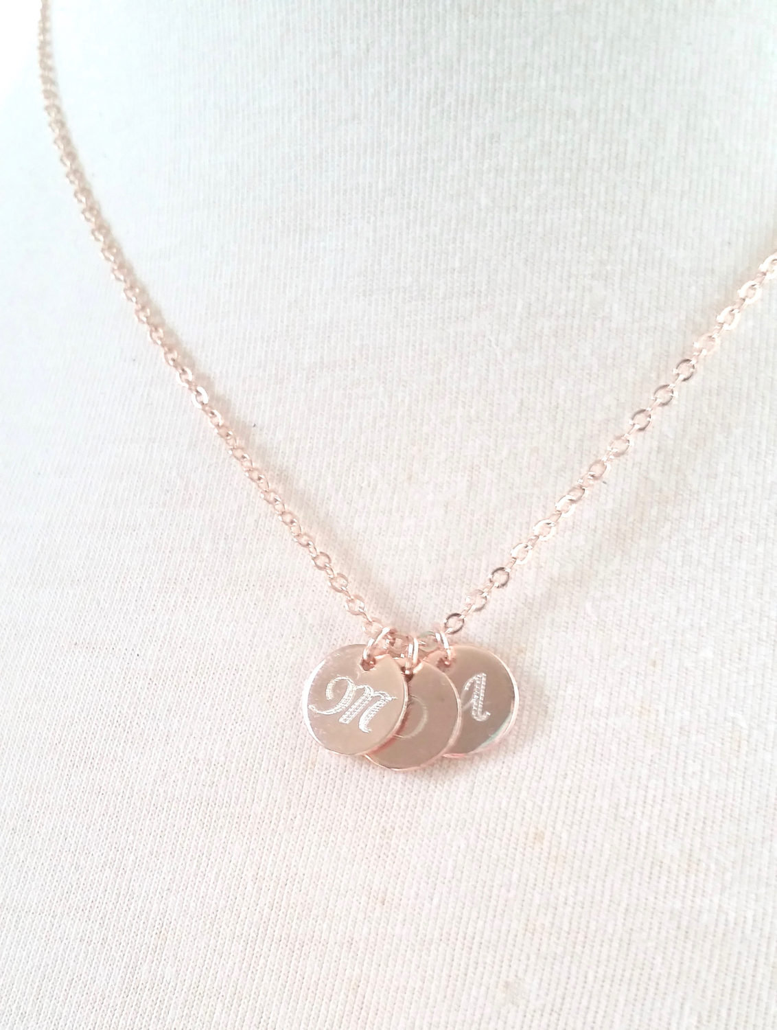 Mothers Day Gift Monogram Disc Necklace Initial Necklace Personalized Name Gift For Mom Engraved Gold Initial Charm Necklace