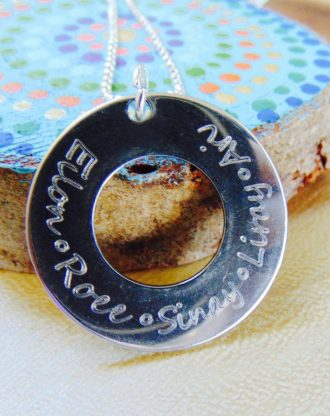 Mothers day gift, Name necklace, Family jewelry, stamped jewelry, silver round Washer necklace, child's name, grandmother necklace