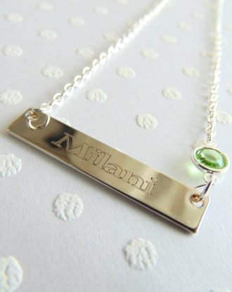 Mothers day nameplate Silver bar necklace, custom name necklace, birthstone jewelry, engraved nameplate, message bar
