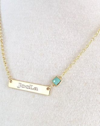 Name necklace, 16K gold layered bar necklace, Opal October Birthstone, engraved jewelry, personalized custom Jewelry, Name pendant