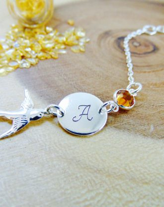 November birthstone bracelet, Personalized initial name bracelet, Customized jewelry, citrine bracelet, Bridesmaid bracelet, birthday gift.