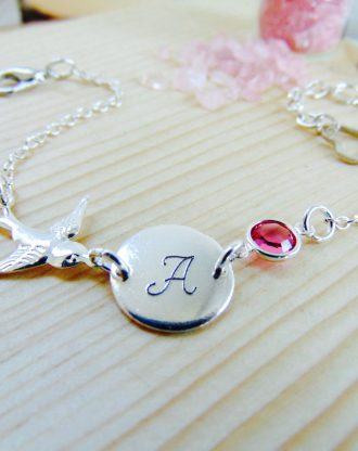 October Birthstone Bracelet ,Personalized name initial bracelet, Customized Bracelet, Sparrow Bird Jewelry, Bridesmaid gift, birthday gift.