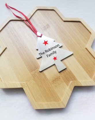 Personalized Christmas tree ornament, Christmas gift idea, custom family name ornament, Xmas decoration, apple, snowflake, unicorn ornament