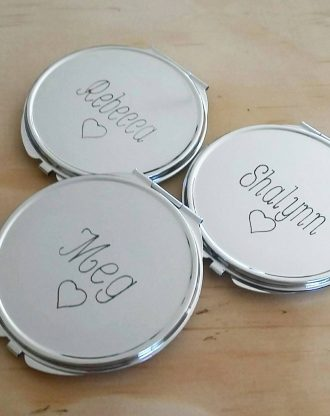 Personalized Engraved compact mirror, Custom Party favor, Personalized wedding gift, silver round compact mirror, engraved wedding keepsake.