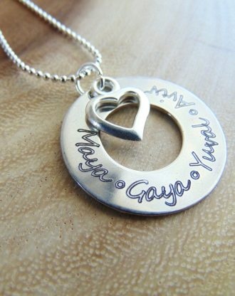 Personalized Family necklace, name/quote/phrase/verse/date/coordinate necklace heart charm, mother Gift, stamped child mom jewelry, Washer