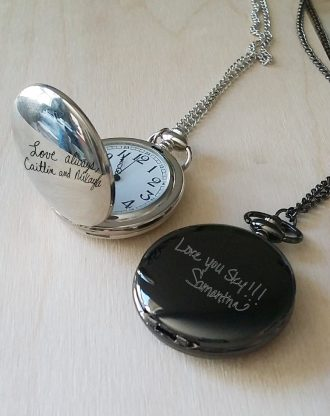 Pocket watch Hand writing , monogram watch, personalized man gift, engraved watch chain, signature Men's gift, custom black watch pendant.