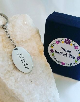 Ready to ship. Mothers day gift, I love you mom Engraving, message key chain, silver key charm, key holder plate, gift for mom under 15