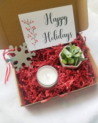 Snowflake ornament, Happy Holidays gift basket, Send a gift, Merry Xmas set, pre filled gift box, personalized package, Christmas gift set.