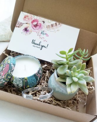 Thank you gift box, Send a gift, personalized gift set, birthday present, Live succulent gift, genuine Turquoise earrings, engraved bracelet