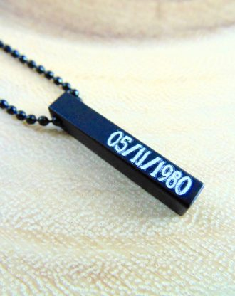 Vertical bar necklace, monogram pendant, unisex black necklace, engraved pendant, gift for him, Mens necklace, personalized block pendant.