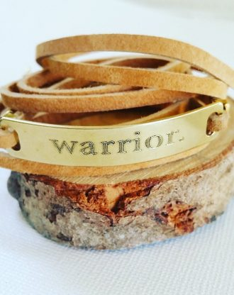 Warrior bracelet, Leather wrap bracelet, customized inspirational message bar bracelet, Engraved motivational quote jewelry, Survivor gift.