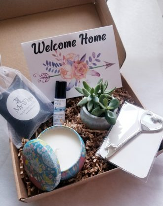 New Home gift box, Send a gift, Housewarming gift set, Live succulent gift, Gift from Realtor, client gift, first home purchase gift basket