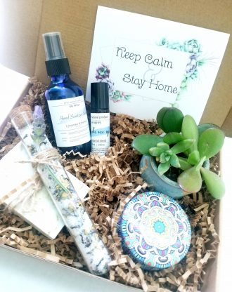 Keep calm and stay home, quarantine package, relaxation spa gift, Thinking of you basket, cheer up encouragement gift, Hand sanitizer spray.