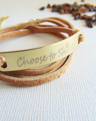 Leather wrap bracelet, custom inspirational message bar bracelet, stamped Bracelet, Engraved motivational quote jewelry, Choose to Shine