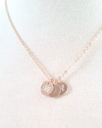 Mothers day gift, Monogram Disc necklace, Initial necklace, Personalized name gift for mom, engraved Gold initial charm necklace.