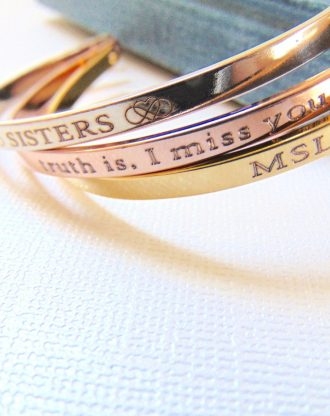 Personalized Cuff Bracelet in Gold/Rose Gold/Silver, custom Quote Engraved message Bracelet, Stamped cuff, inspirational motivational bangle
