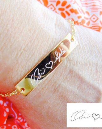 Actual Handwriting bracelet, Custom signature bracelet, Personalized handwritten bar bracelet, 16K gold/Silver/rose gold engraved jewelry