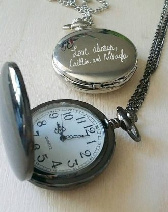 Actual Handwriting watch, custom pocket watch, personalized man gift, engraved watch chain, custom signature, father's day gift, steampunk.