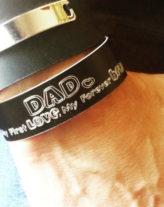 Custom Black cuff, engraved message bracelet, Personalized men jewelry, fathers day gift from daughter, my first love my forever hero.