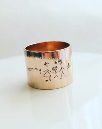 Custom handwriting tube ring, engraved rose gold ring band, child drawing ring, Signature ring, memorial  keepsake gift, personalized ring