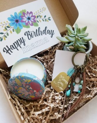 mom birthday gift set, curated gift box, Custom mother birthday present, Live succulent, mama bear keychain, birthday gift idea for mom.