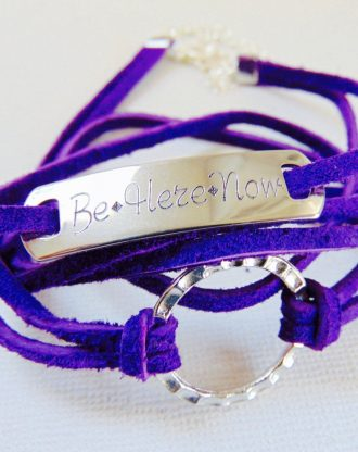 Personalized Purple leather bracelet, circle Washer engraved bar bracelet, adjustable stamped wrap bracelet, message/inspirational jewelry