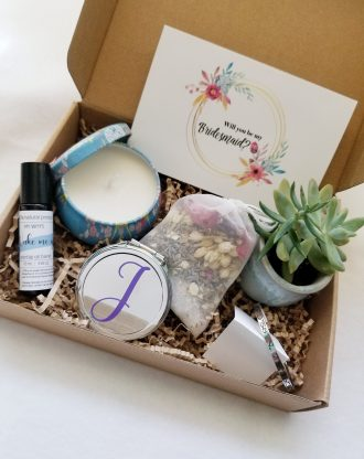 Pre filled bridesmaid gift box, asking Bridesmaid proposal gift set, will you be my bridesmaid, essential oils blend, spa gift box