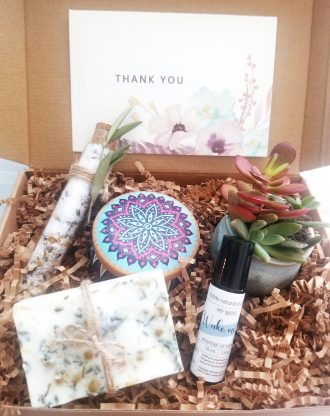 Thank you gift box, send a spa basket, care package gift, live succulent gift box, gift for her, 100% natural soap products, spa gift set